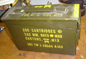 Ammo box, like one found in the Army Navy store in Salem, MA