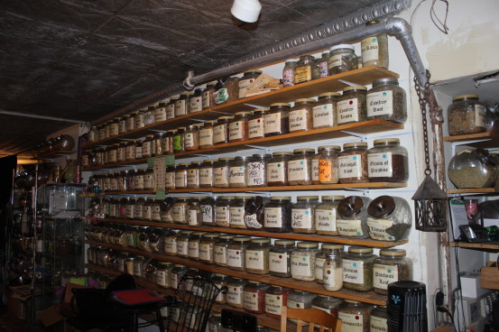 Jars of herbs at Enchantments (Photo: Nance Carter)